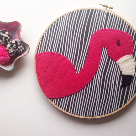 Pink Flamingo Hoop. Embroidery Felt Wall Art by OliveandFox