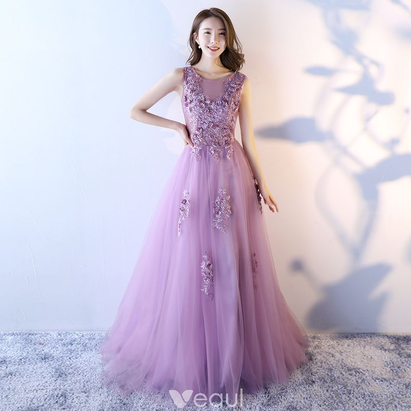 Chic / Beautiful Lilac Prom Dresses 2017 A-Line / Princess Scoop ...