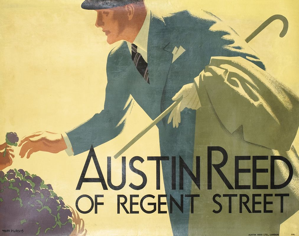 Austin Reed Of Regent Street Man With Flowers Purvis Tom 1928 Ca 39 8 X 30 5 101 X 77 Cm Lithograph Backed On Linen Id Ukl18446 1500 Austin Reed Purvis Vintage Posters