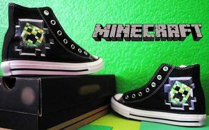 sportschoenen groothandel outlet hete producten Minecraft Creeper Converse. I WANT THEM!! 😍😍 | Geekery ...