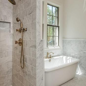 Gray Marble Bathroom With Shower Next To Tub Shower Tiles - Freestanding tub bathroom layout
