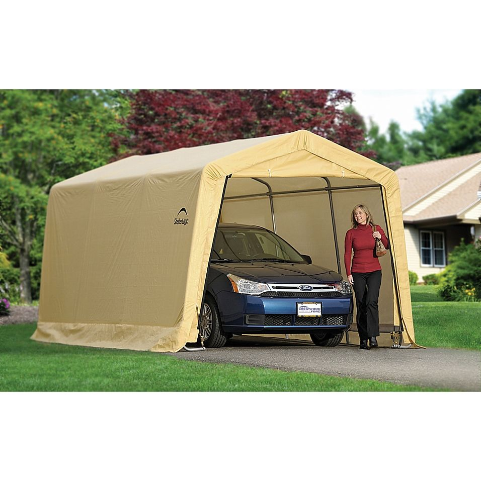 Shelterlogic Autoshelter 10' X 15' Instant Garage In Tan