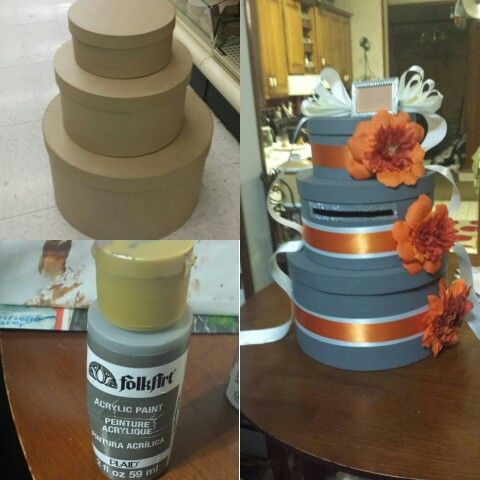 Wedding Gray&Orange Card Box Need:Folk Art acrylic paint, storage