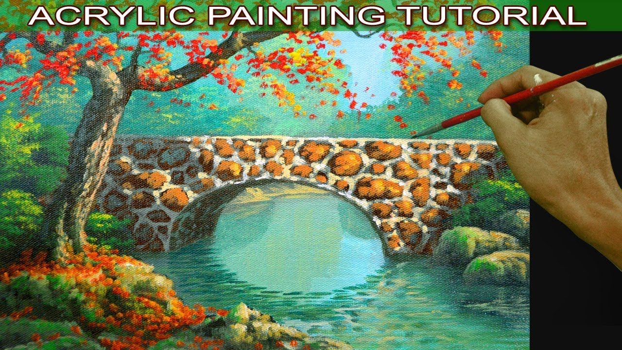Acrylic Landscape Painting Tutorial Autumn With Red Tree On Concrete Bri Landscape Painting Tutorial Landscape Paintings Acrylic Painting Tutorial