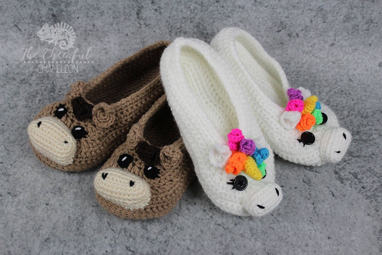 Unicorn And Horse Slipper Crochet Pattern Adult Size Colorful