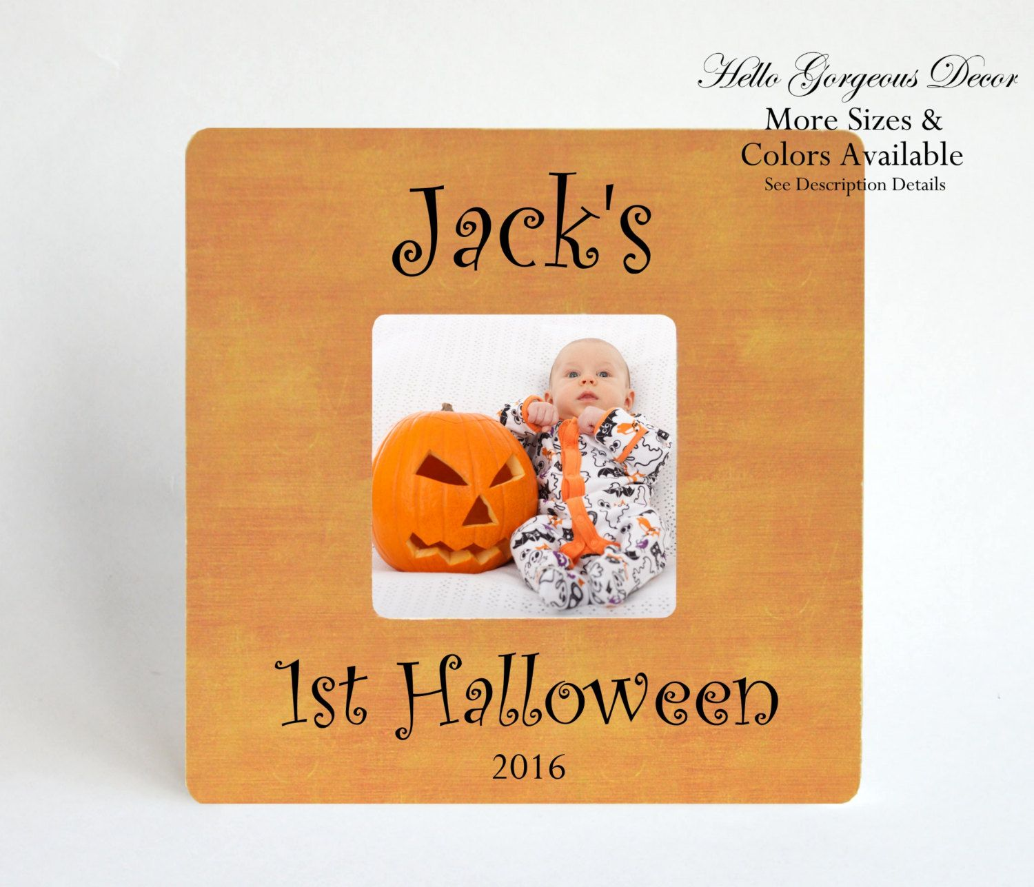 first halloween baby picture frame gift new baby personalized halloween decor decorations newborn fall baby gift - Personalized Halloween Decorations