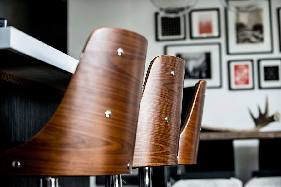 Bar stools bring unique texture to the