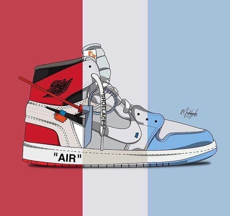 Off White X Nike Air Jordan Sneakers Wallpaper Nike Wallpaper Sneakers Illustration