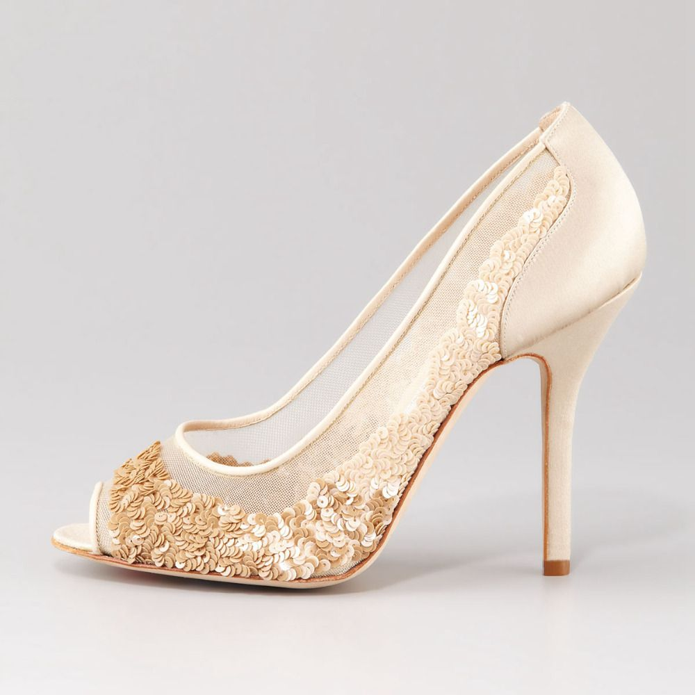 Luxury Ivory Sequin Wedding Shoes