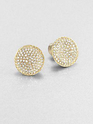 Michael Kors Concave Sparkle Stud Earrings Gold