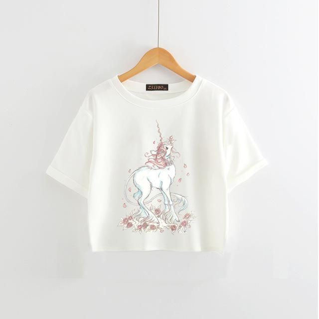 Chic Unicorn T Shirt Summer Cute Cartoon Print Women's Tops Casual Short Sleeve