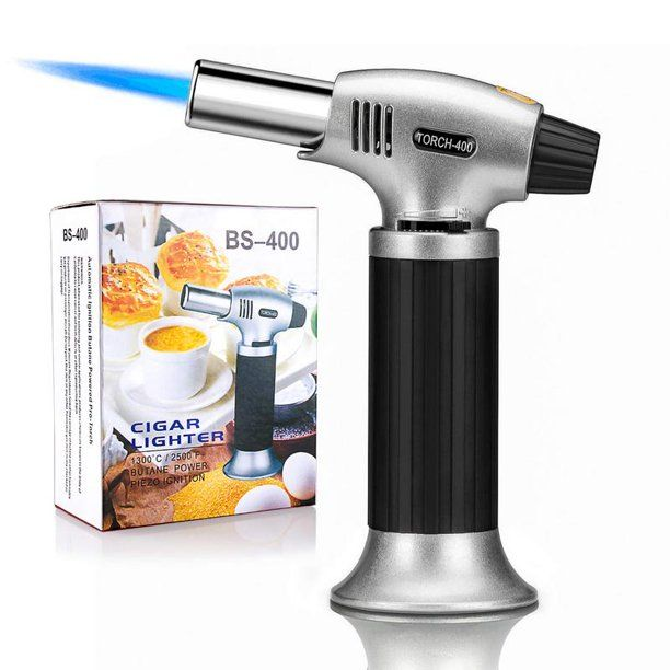 Culinary Butane Torch, Professional Cooking Torch Lighter Butane Refillable, Adjustable Flame, Safety Lock for Baking, BBQ, Creme Brulee, Heat Shrinking Tubing and Soldering (Butane Gas Not Included) - Walmart.com