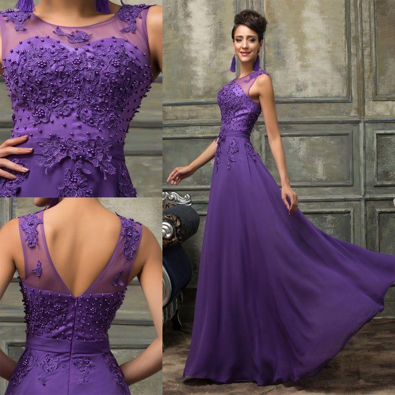 GK Vestito Elegante Applique abiti cerimonia donna lungo Damigella Vestito  ballo 9aa6e61502e
