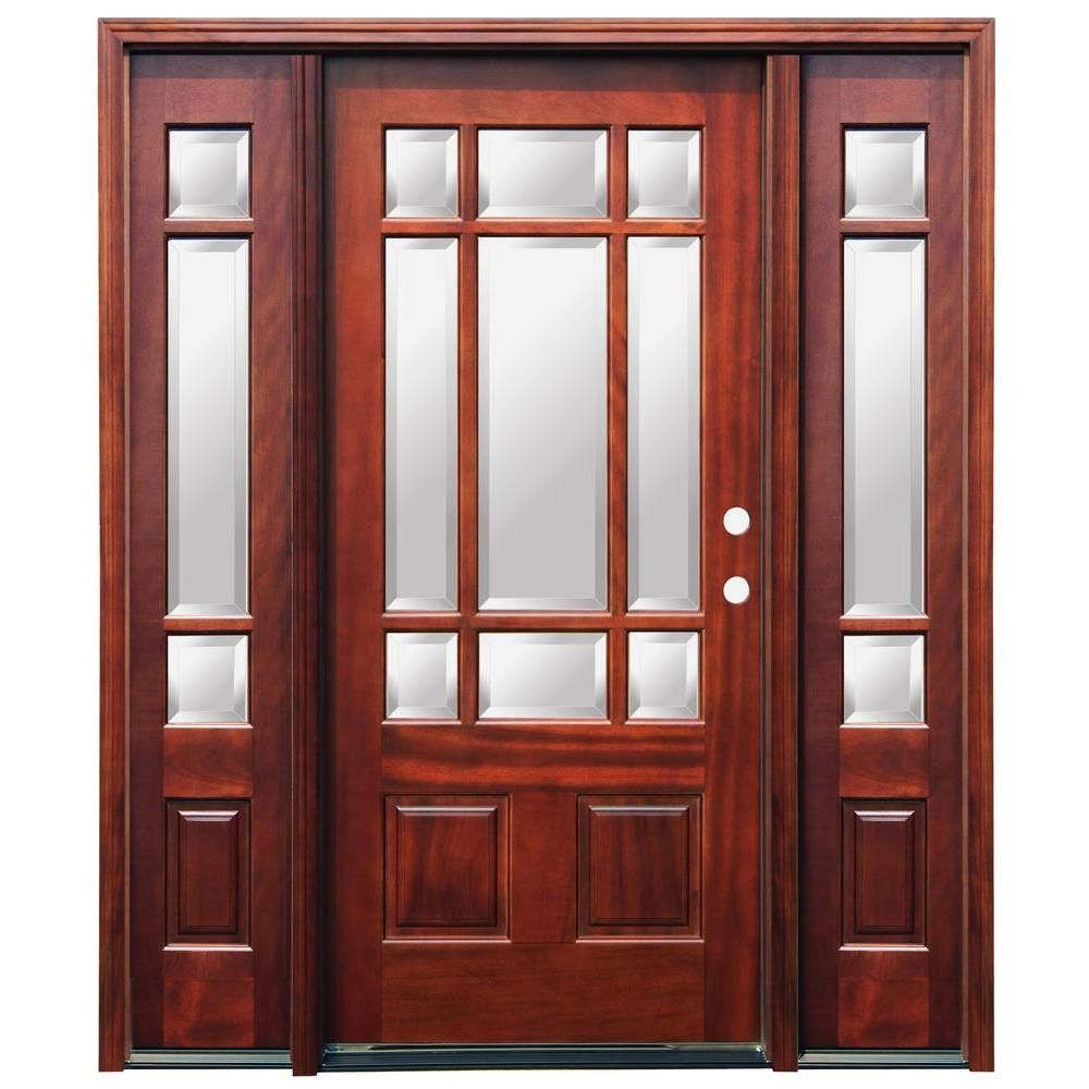Pacific Entries 68 In X 80 In Craftsman 9 Lite Stained Mahogany Wood Prehung Front Door With 6 In W Wood Entry Doors Mahogany Entry Doors Wood Exterior Door