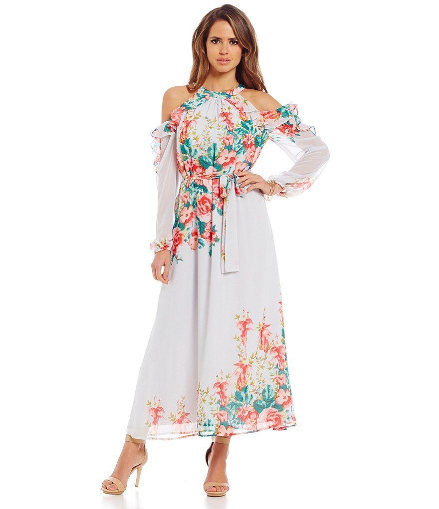 Gianni Bini Amani Cold Shoulder Floral Maxi Dress | Dillard's ...