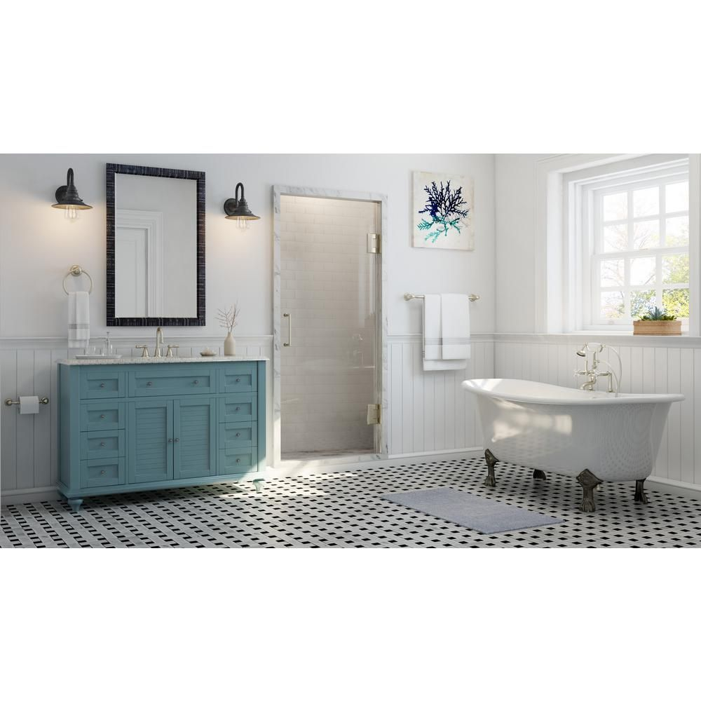 home decorators collection hamilton shutter 495 in vanity in sea glass with granite vanity top in grey with white basin