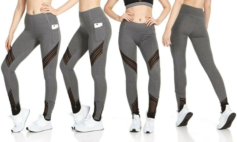Womens Ripped Lace Underlay Leggings Ladies High Waist Full Length Pants UK 6-14