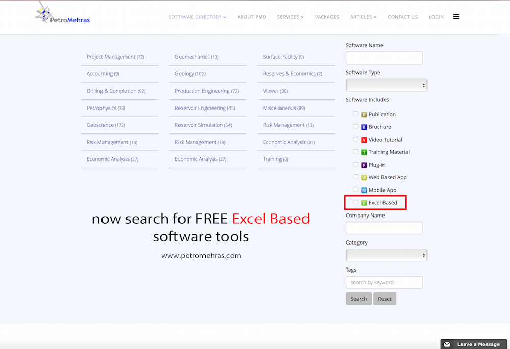 now you can search petromehras for free excel based