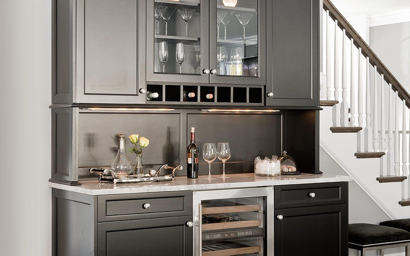 Distinctive Stand Alone Bar Hutch In Graphite By Signature Custom Cabinetry