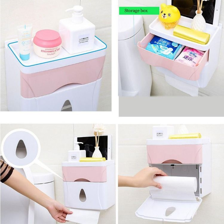 Double Tissue Box Cover Self Adhesive Toilet Paper Holder