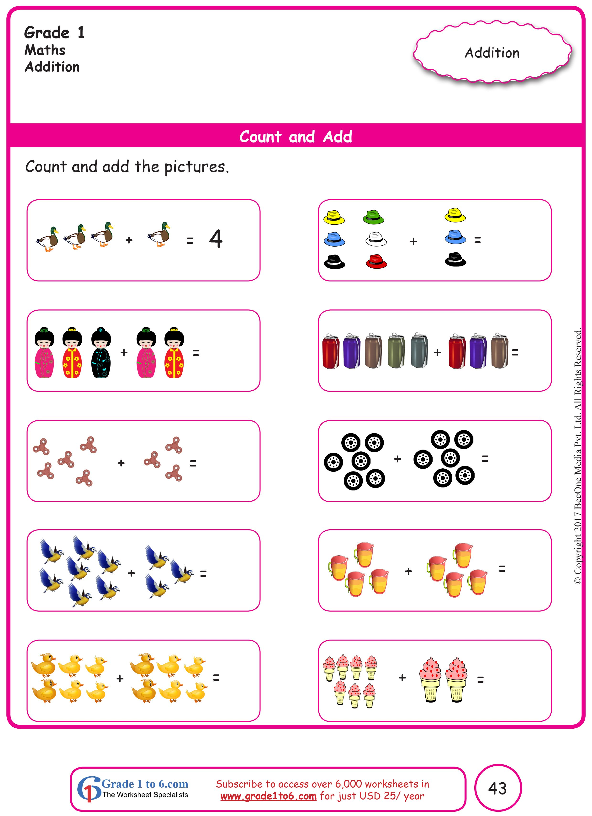Free Math Worksheets For Grade 1 Through Grade 6 Subscribe To Www