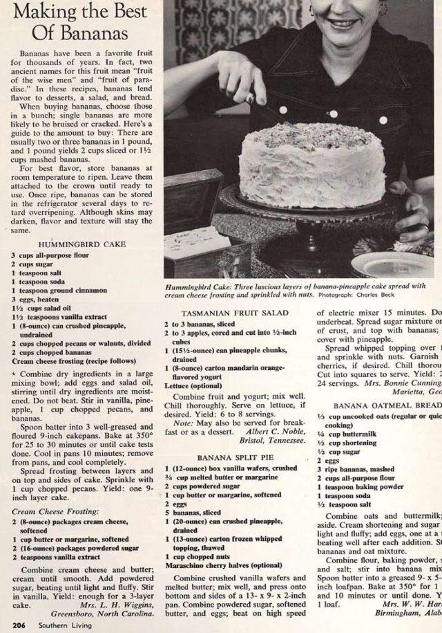 The original 1978 hummingbird cake recipe  | Sweet Fooooood