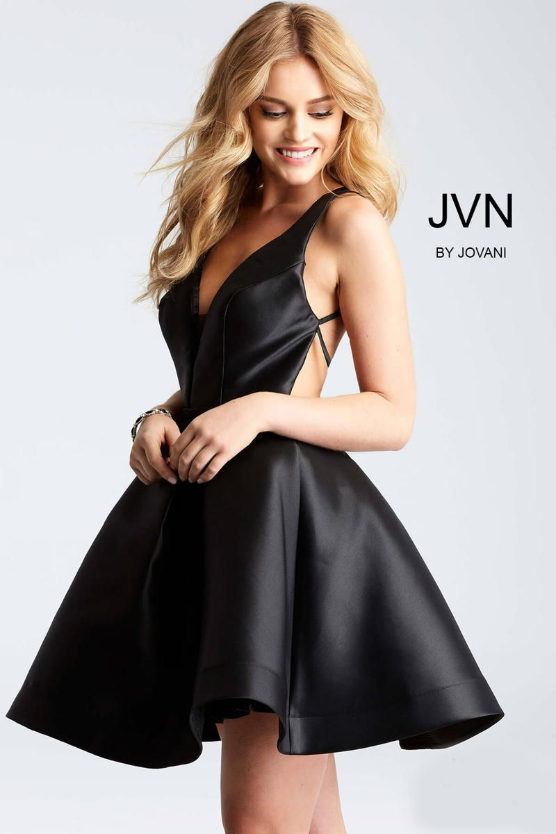 7ab9605b3972 Black Fit and Flare Open Back Cocktail Dress JVN53360 at One Enchanted  Evening