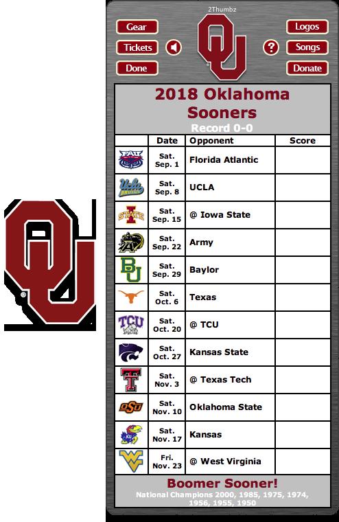 2018 Oklahoma Sooners Football Schedule Dashboard Widget