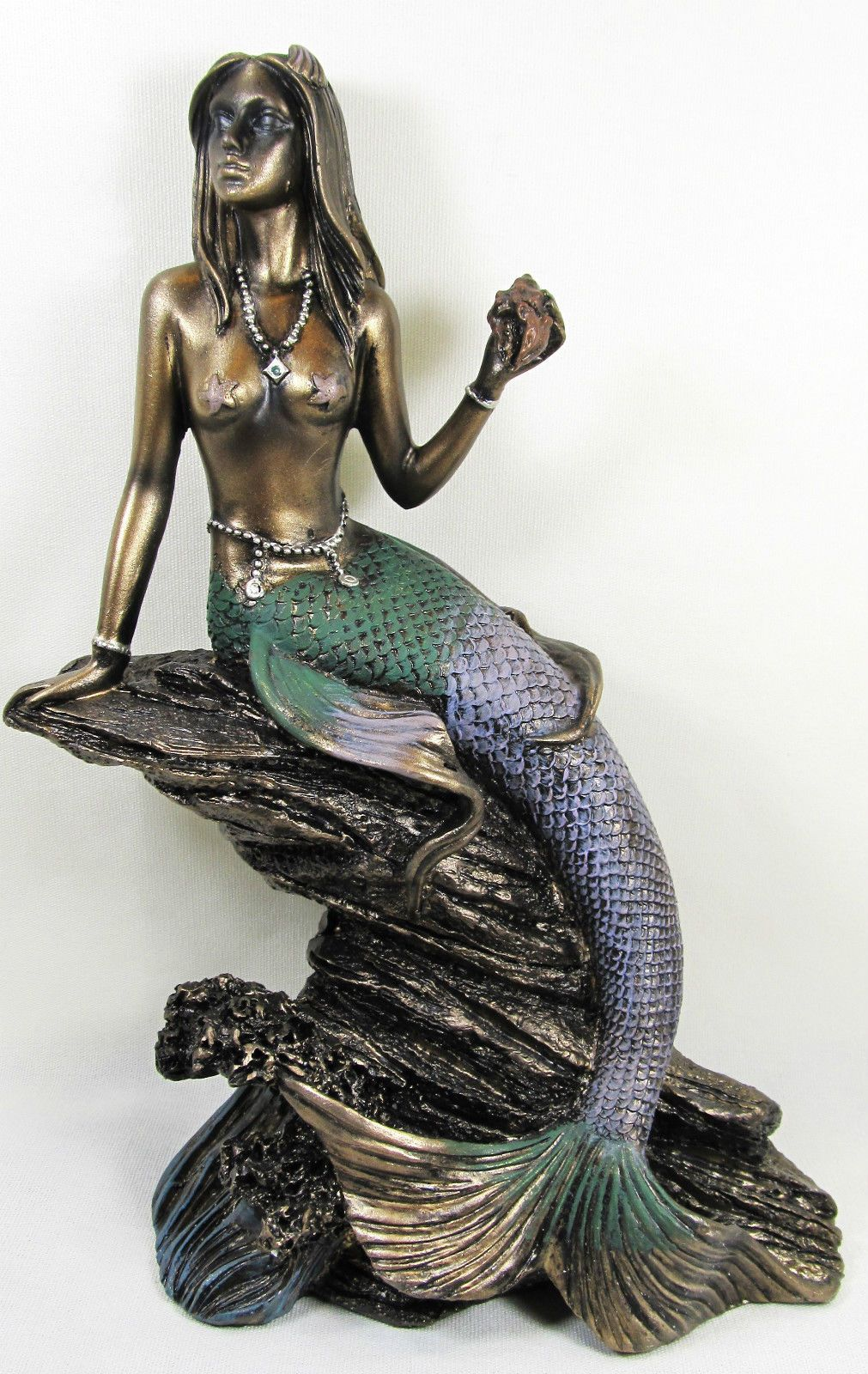 Art Nouveau Beautiful Ocean Mermaid on Shell Figurine Home Decor Bronzelike