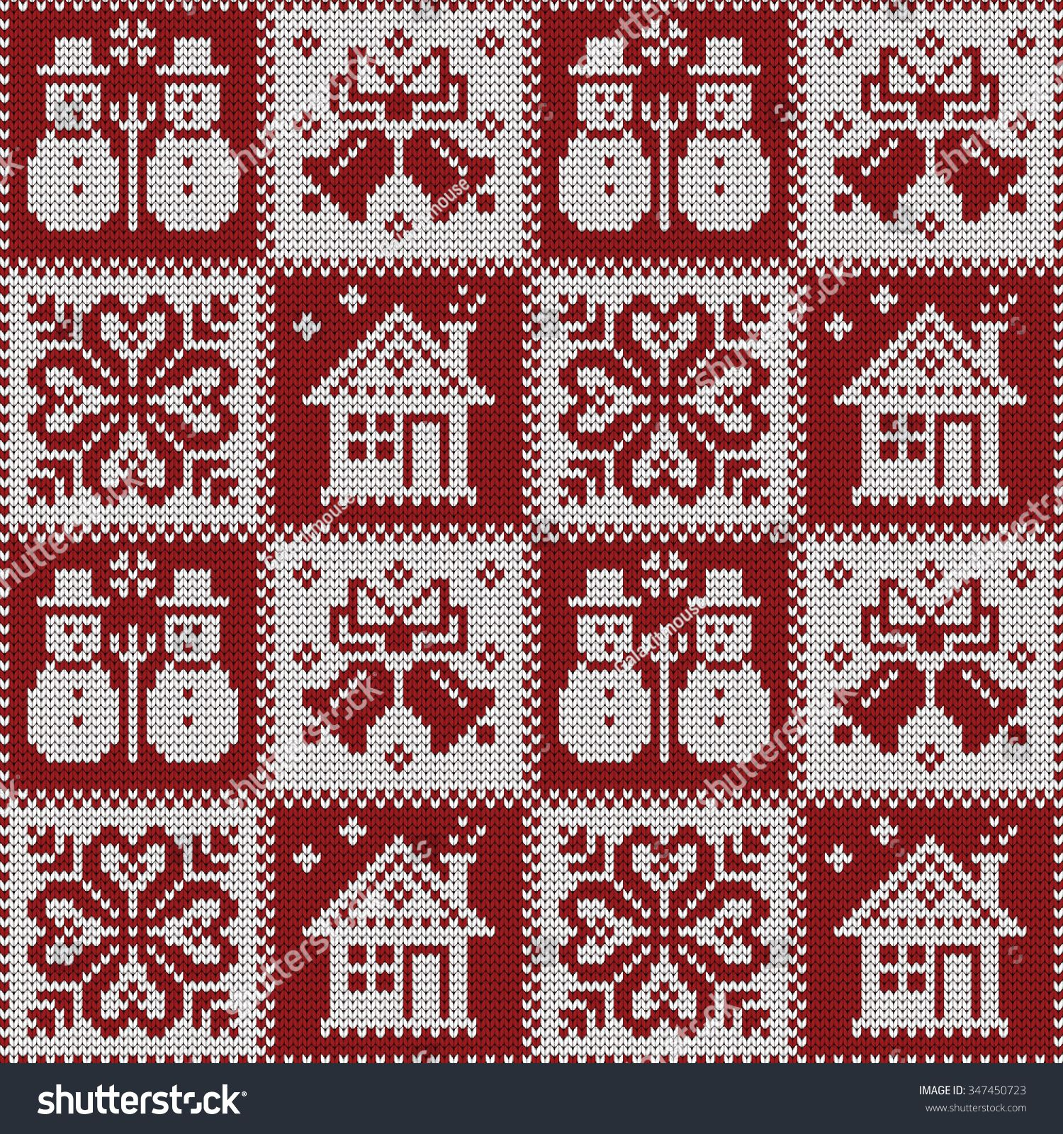 Photo of Gestricktes nahtloses Weihnachtsmuster Stock Vector (Royalty Free) 347450723