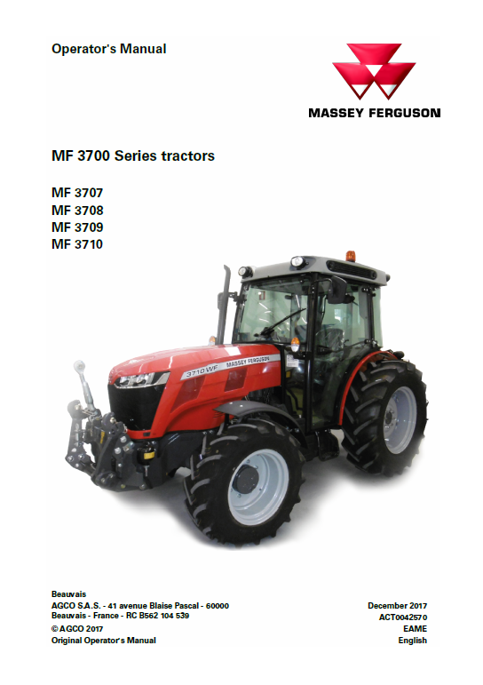Massey Ferguson 3707 3708 3709 3710 Tractor Manual Tractors Massey Ferguson Massey Ferguson Tractors