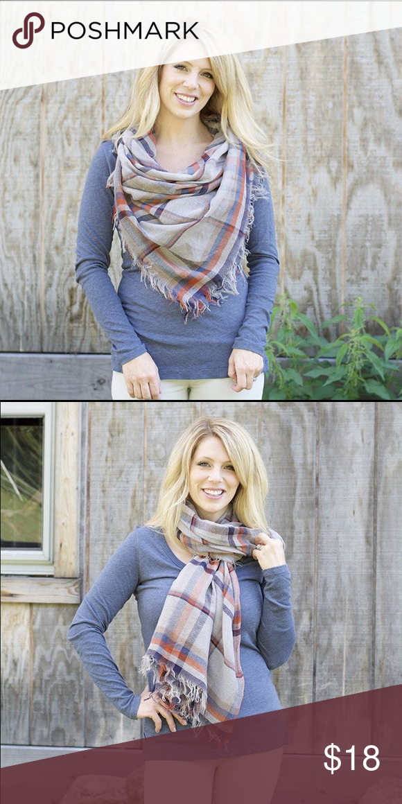 "Plaid blanket scarf - lightweight!! our blanket scarves are thin, soft, lightweight, and an amazing transition piece from summer to fall!  thin enough to wear during a sunny day and cozy for those cool evenings.  we just love this!  put the corners together to make a triangle, standard blanket scarf look.  fold into a rectangle for a completely different look!  measures 58"" x 58"" Accessories Scarves & Wraps"