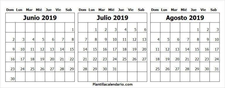 Calendario Junio Julio 2020.Calendario De Junio Julio Y Agosto 2019 Para Imprimir Calendario