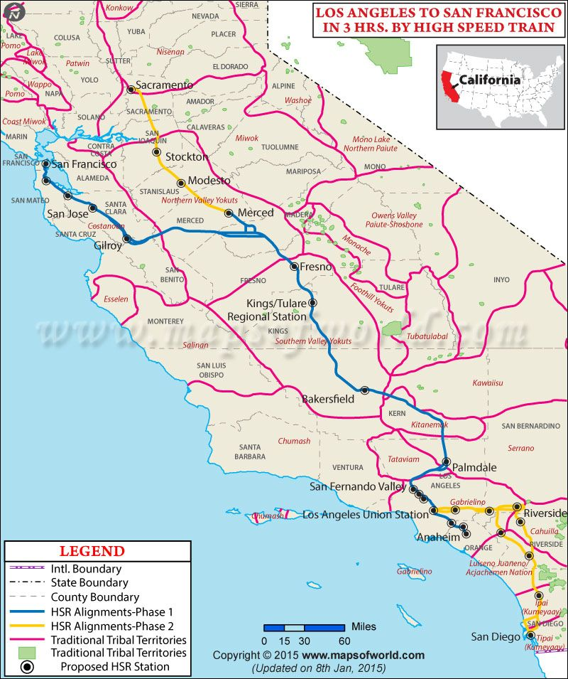 California Breaks Ground On Americas First Bullet Train Check - California map from san francisco to la