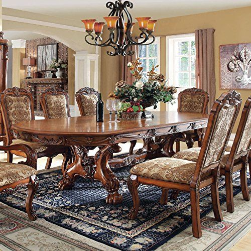 Medieve English Style Antique Oak Finish 9 Piece Formal Dining