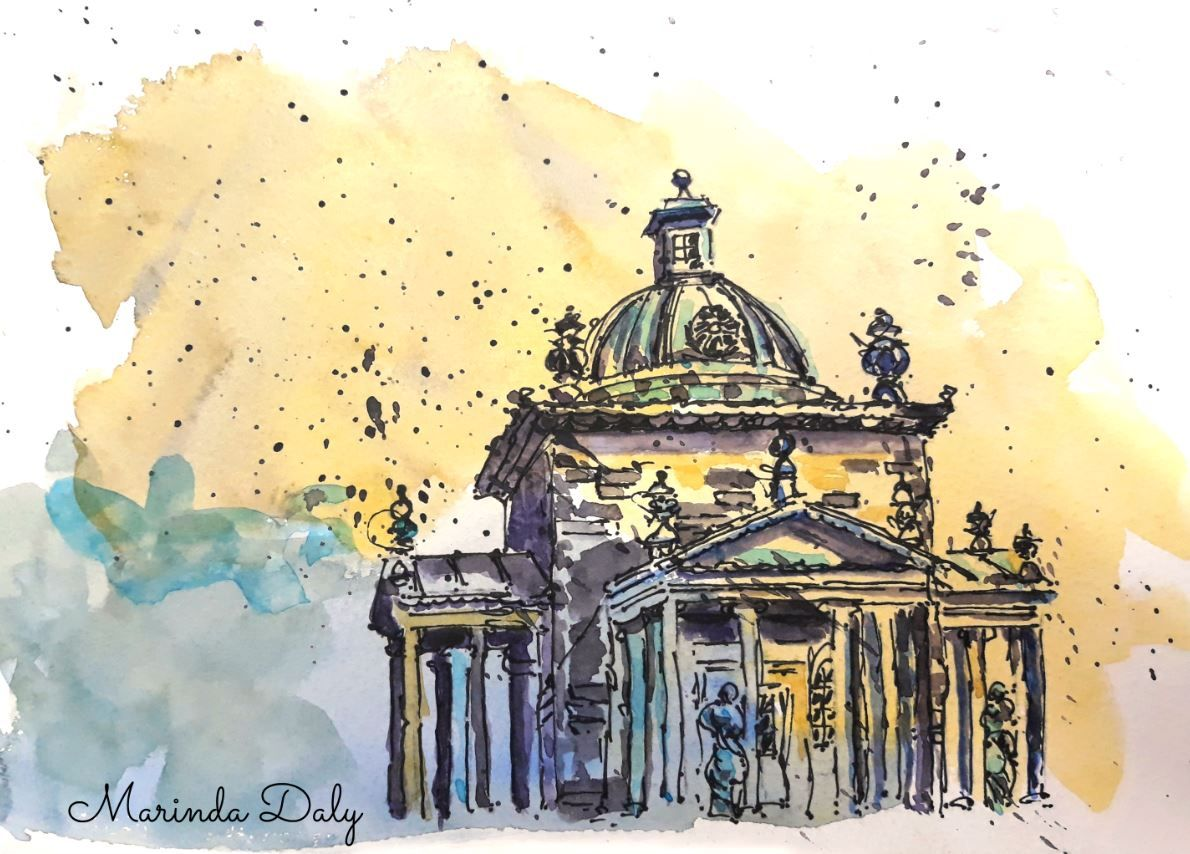Castle Howard Line And Wash Sketch By Marinda Daly Pen And Wash Sketch Ink And Watercolor Sketch Pen And Watercolor Sketch Ink And Watercolour Sketch Pen