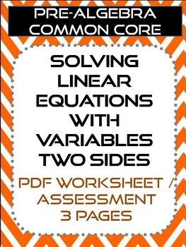 Equations With Variables On Both Sides Worksheet Assessment
