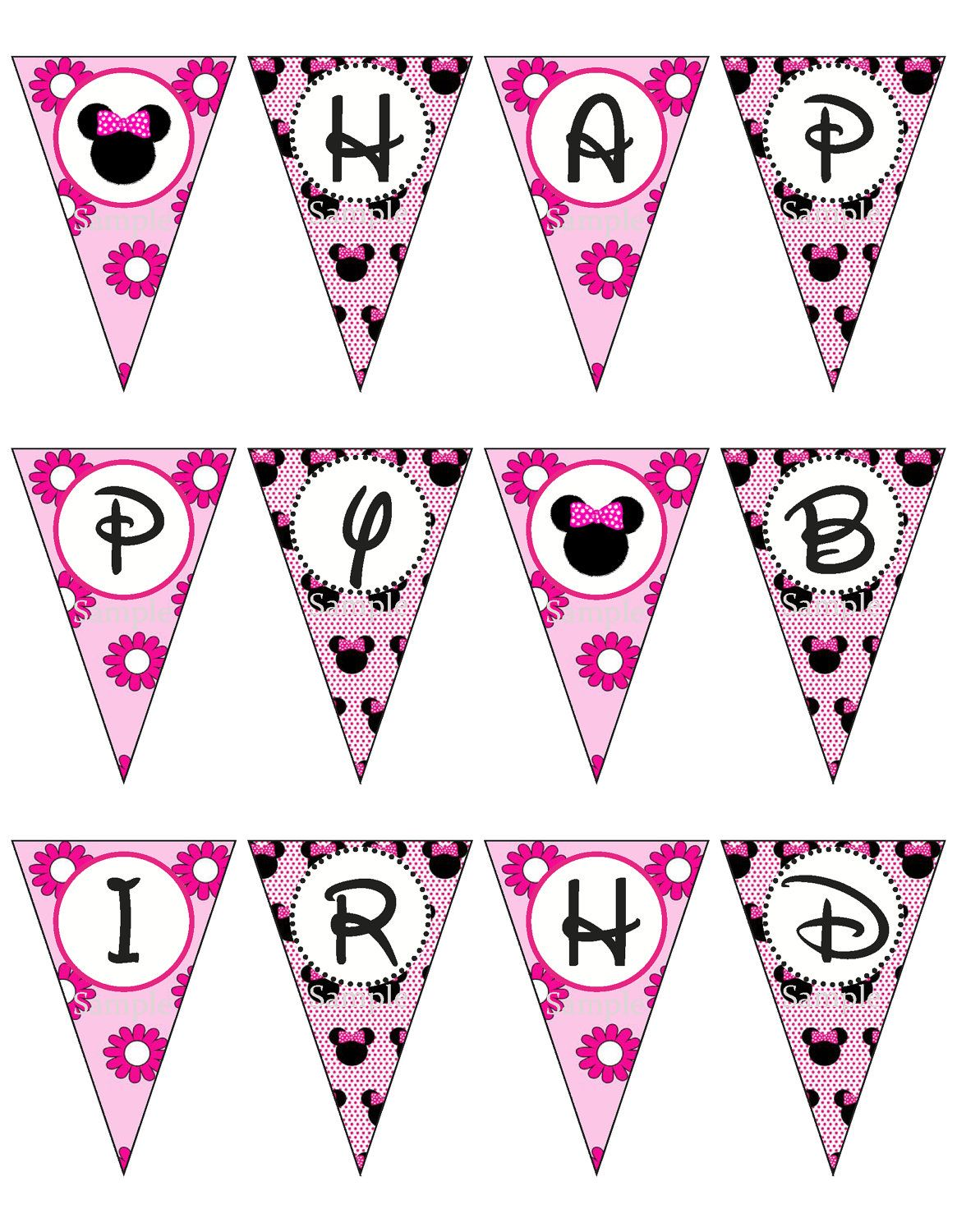 Minnie Mouse Pink Birthday Banner Printable By ...