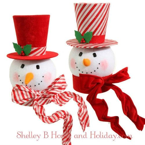 RAZ Snowman Head Christmas Tree Topper Holly Houndstooth Christmas