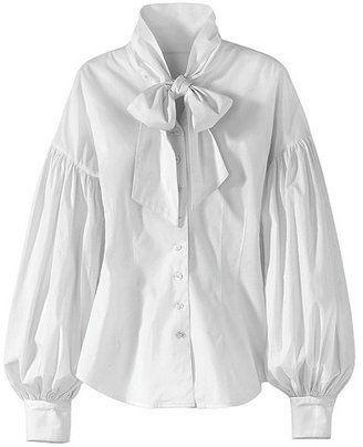 63dfea6d179d5b ShopStyle: Balloon-Sleeve Tie-Neck Blouse | POET BLOUSES/SHIRTS ...