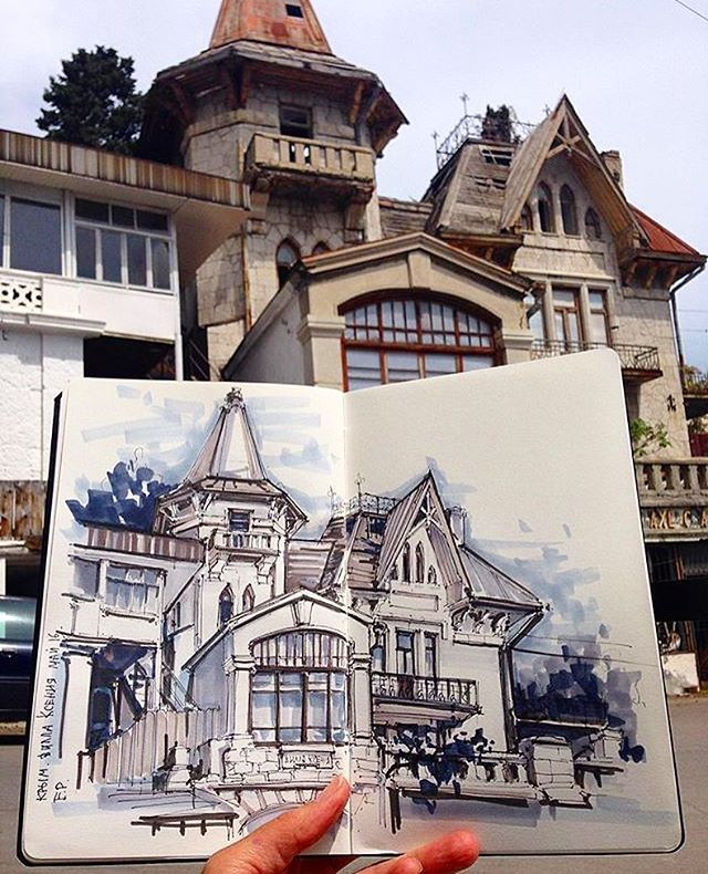 Great work from the #Leuchtturm1917 sketchbook of @ekaterina_assemblage Love #Urbansketchers! �