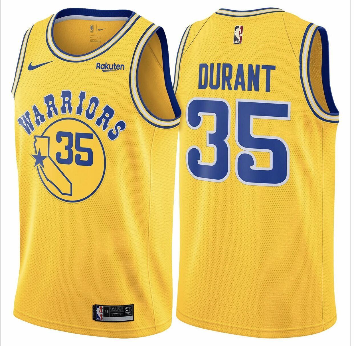 bb211cc2f Nike Warriors  35 Kevin Durant Gold Throwback NBA Swingman Hardwood  Classics Jersey available from size S to 2XL at  21