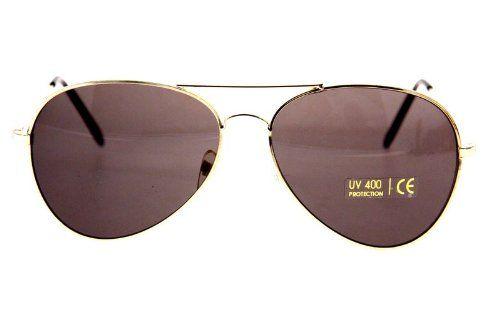 Klassik 80er Sonnenbrille Gold Schwarz Herren Damen Pilotenbrille