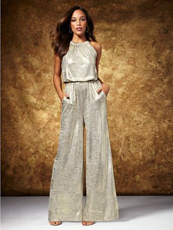 f5c7d3976e62 Shop Metallic Foil Halter Jumpsuit. Find your perfect size online at the  best price at New York   Company.