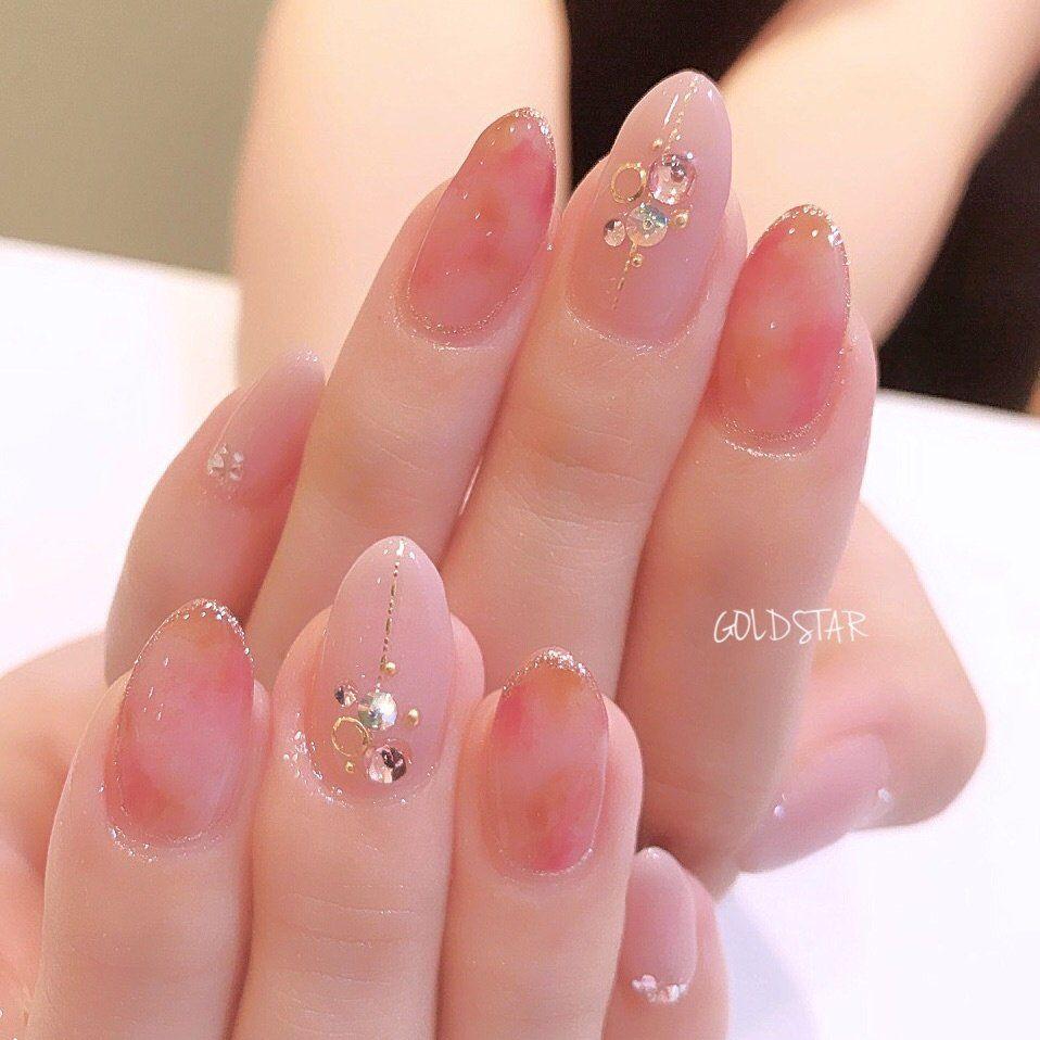 秋/オフィス/ハンド/ビジュー/タイダイ , agloss nailのネイル
