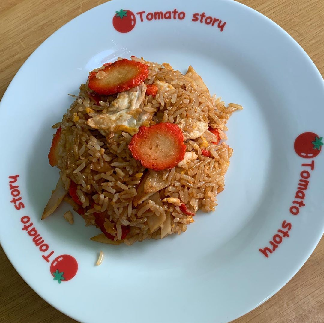 Fried rice with vegetarian char siew