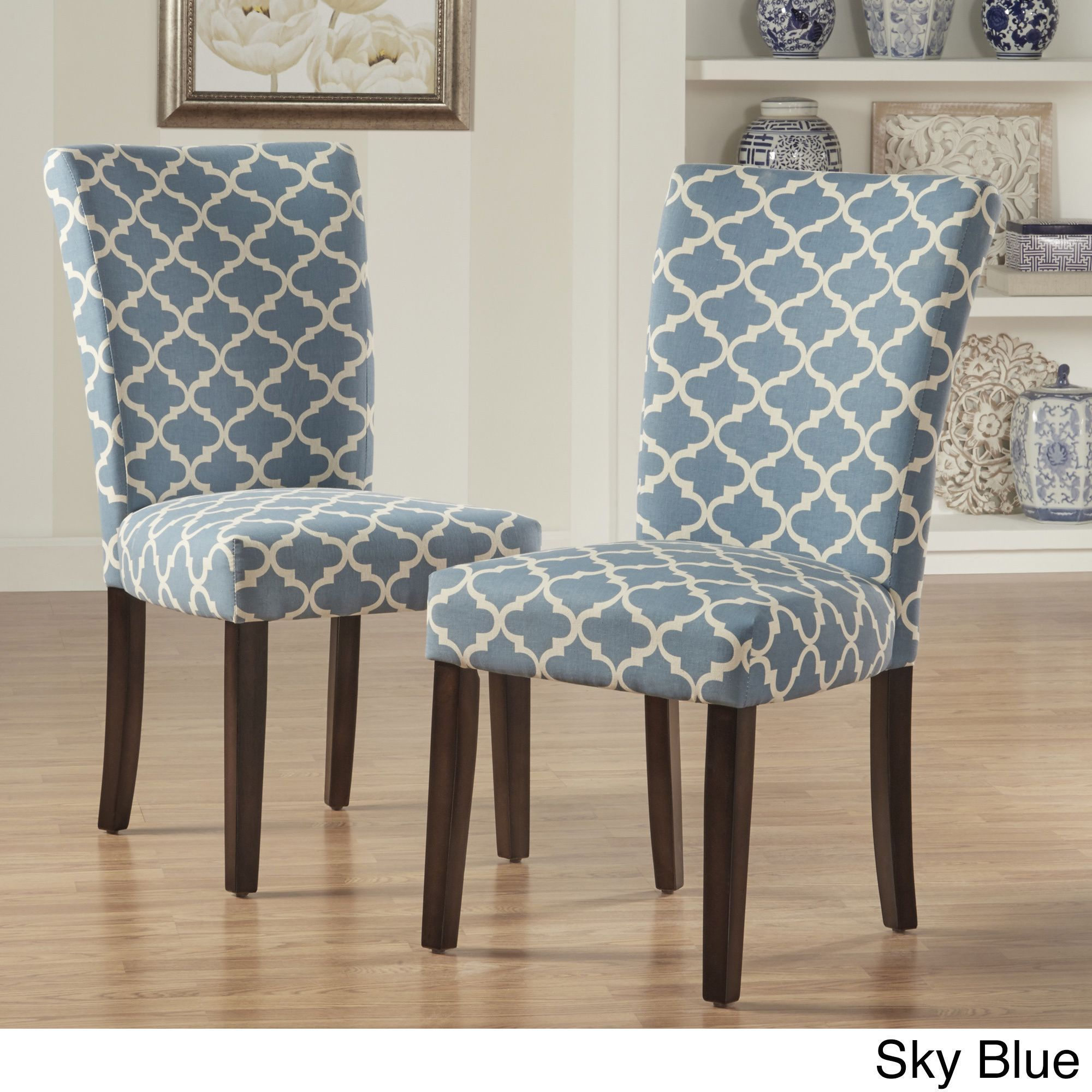 Awe Inspiring Catherine Moroccan Pattern Fabric Parsons Dining Chair Set Creativecarmelina Interior Chair Design Creativecarmelinacom
