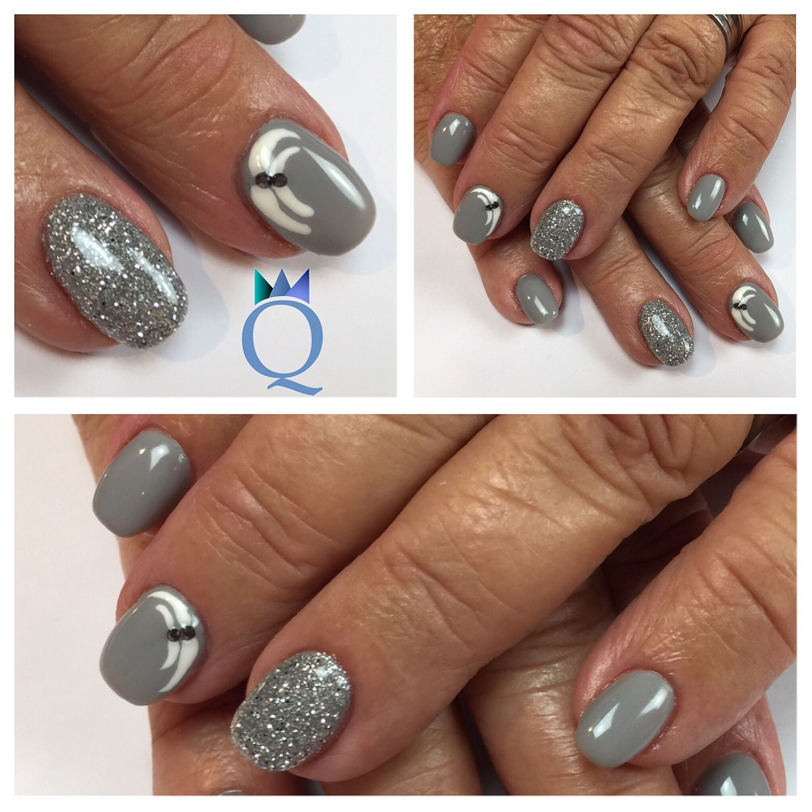 shortnails gelnails nails grey silver glitter stones kurzen gel geln gel n gel grau. Black Bedroom Furniture Sets. Home Design Ideas