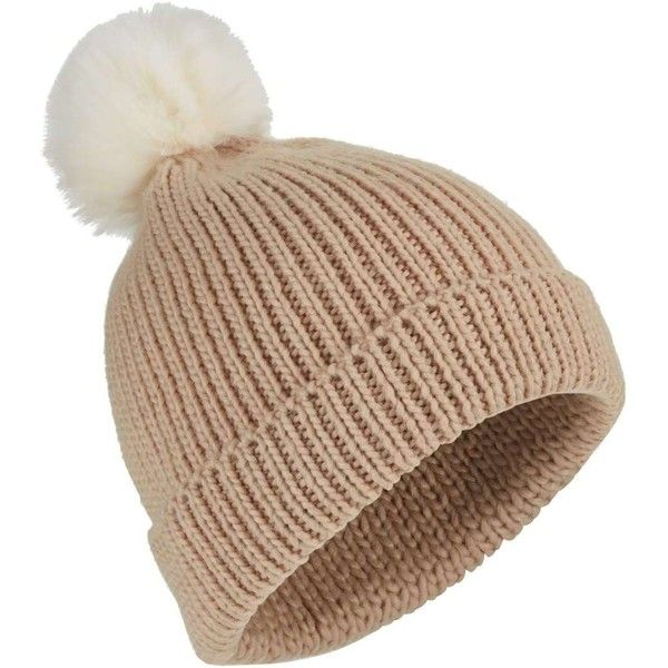 Miss Selfridge Camel Pom Beanie Hat ( 21) ❤ liked on Polyvore featuring  accessories a0f589fd8dcc