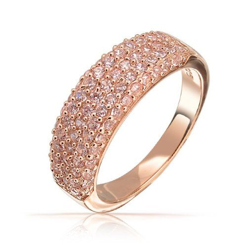 Valentines Day Gifts Bling Jewelry Rose Gold Vermeil Pink CZ Three Row Half Eternity Ring: Jewelry: Amazon.com
